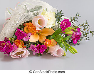 Beautiful bouquet, mixed bright flowers Special occasion...