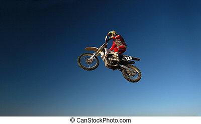 Motocross jump - Motocross Race Motorbike Flying High