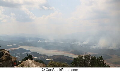 Wildfire in mountains vietnam - Wildfire in mountains...