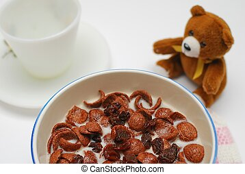 Healthy cereal topped with raisins