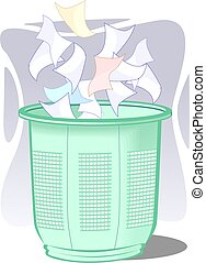 Waste basket	 - Illustration of waste paper and basket