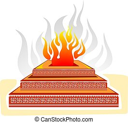 homam	 - Illustration of homam with flame