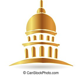 Gold dome building logo - Gold capitol building cupola...