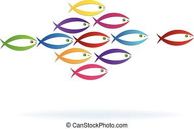 logotipo, Símbolo, Trabalho equipe, peixe