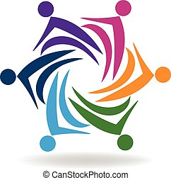 Business colorfu teamwork logo - Business logo design vector...