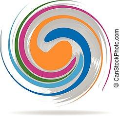 Wave swirly shiny logo