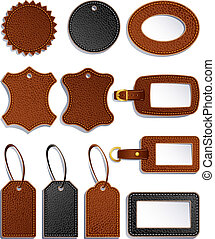 leather labels - Vector illustration - set of leather...