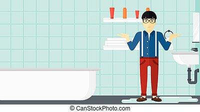 Man in despair standing near leaking sink - An asian man in...