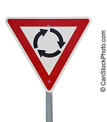 A red roundabout sign isolated on white