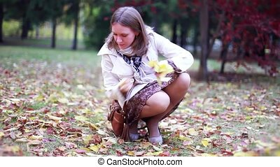 Beautiful elegant woman collects leaves in a park in autumn...