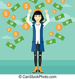 Happy woman with flying money. - An asian woman with raised...