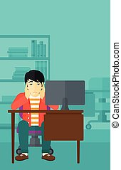 Tired employee sitting in office - An asian man sitting at...