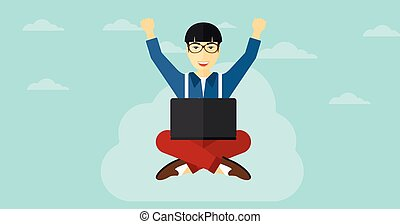 Man sitting on cloud with laptop. - An asian businessman...