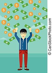 Happy man with flying money - An asian man with raised hands...