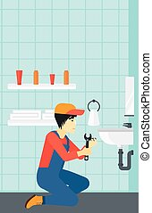 Man repairing sink - An asian man sitting in a bathroom and...
