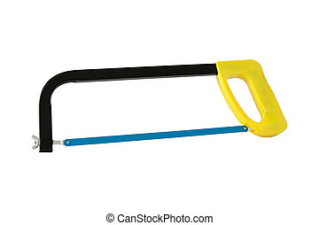 Hacksaw with yellow handle. Isolated on white background.