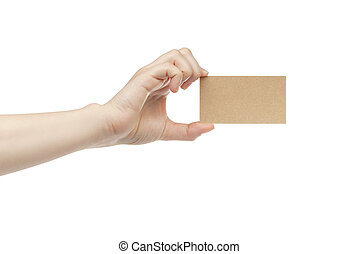 young female right hand hold blank brown paper card,...