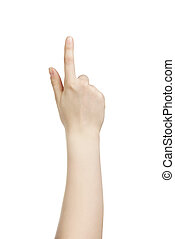 young woman hand touch screen gesture isolated