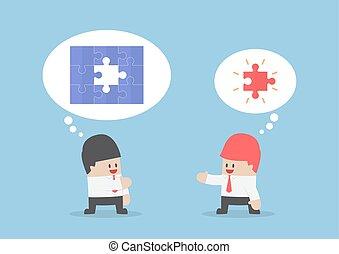 Businessman found last piece of jigsaw puzzle