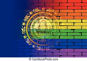 Rainbow Wall New Hampshire - A well worn wall painted with a...