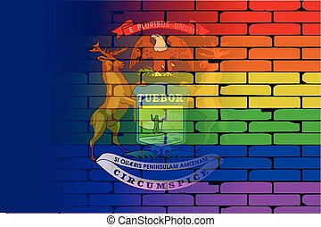 Rainbow Wall Michigan - A well worn wall painted with a LGBT...