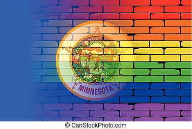 Rainbow Wall Minnesota - A well worn wall painted with a...
