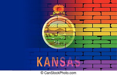 Rainbow Wall Kansas - A well worn wall painted with a LGBT...