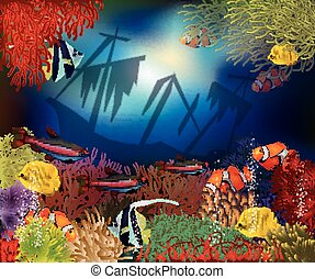 Underwater world cover design, vector illustration