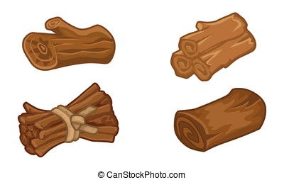 Wooden resources games icons set - Wooden resources for...