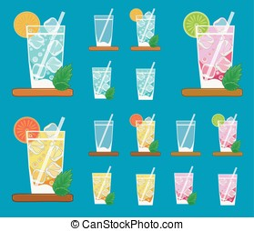 Colorful vector set of lemonades - Colorful vector set of...