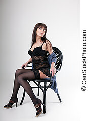 girl in lingerie sitting on chair - girl in dressing gown...