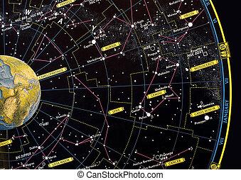 constelação, estrela, mapa