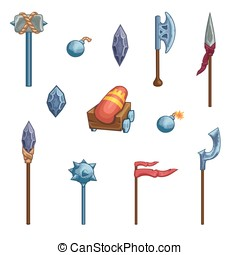 Medieval cartoon weapons. Game icon - Game weapon icons set....
