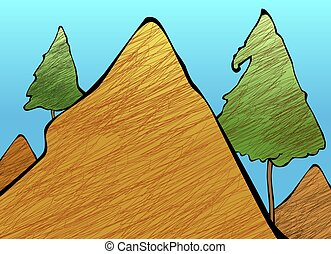 mountain - Illustration of a cliff of mountain with colour...