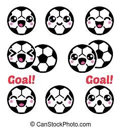 Kawaii soccer ball, football icons