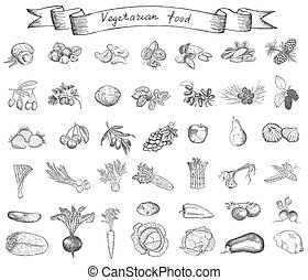 vegetarian food2.eps - vegetarian food. hand drawing set of...