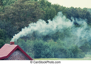 Smoke coming out of chimney - An image of moke coming out of...