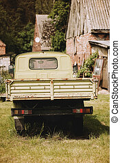 old antique green pickup