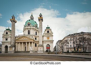 Karlskirche baroque church, Vienna, Austria. - Karlskirche...