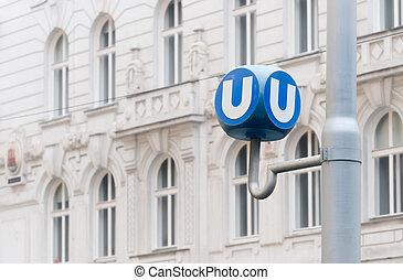 Public transport sign in Vienna, Austria - Transportation...