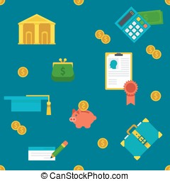 Endless education loan and banking background.