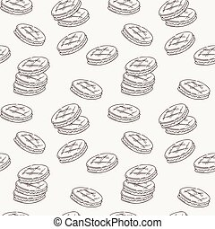 Seamless pattern of double cookies with a layer of cream, sweets or pastilles.