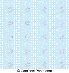 Gentle seamless dots pattern with charming roses - Gentle...