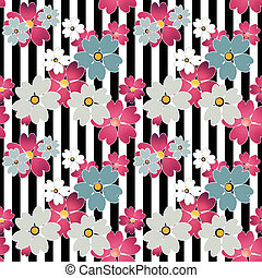 Floral pattern on striped