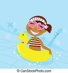 Child in water pool - Cute girl in water pool Vector...