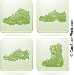 Olivine Square 2D Icons Set: Sport - Sports footwear theme...