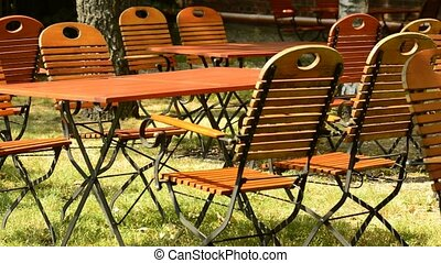 beer garden,wooden furnitures, empty