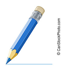 blue pencil drawing line illustration isolated on white...