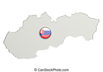 Silhouette of Slovakia map with slovakian flag on button -...