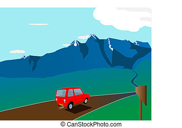 journey - vector cartoon red car on the road